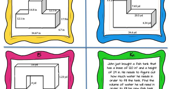 Hands On Differentiated Way For Your Students To Practice Volume With Composite Figures Aligned To 5 Md Task Cards Teaching Math Elementary Teaching Geometry Volume of shapes worksheets