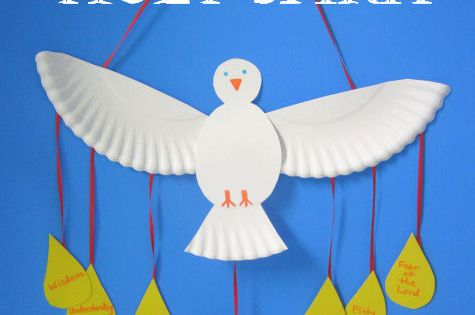 Pentecost Craft: Make a paper plate dove as a Holy Spirit craft.