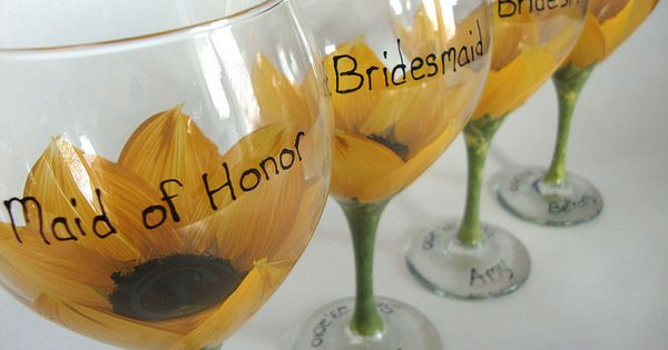 Love the idea of hand painted wine glasses as bridesmaids gifts! Could