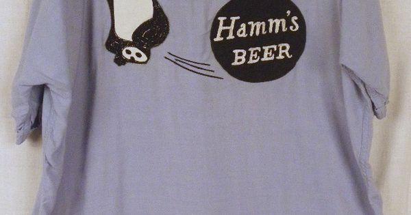 Vintage 50 S 60 S Hamm S Beer Bear Rayon Bowling Shirt Men