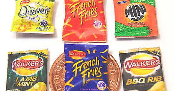 1 12 Scale 6 Packets Of Mixed Crisps Snacks Dolls House Miniature