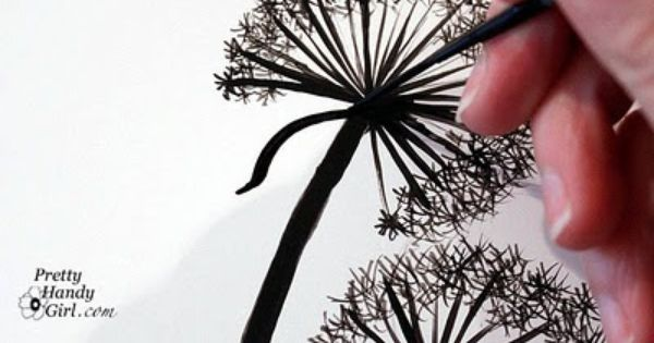 Tutorial for Painting Dandelion Wall Graphic diy