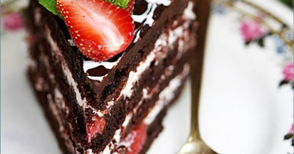 Eggless Layered Chocolate Strawberry Cake with Balsamic Strawberry Cream Filling recipe from