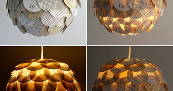 artichoke book page light. created by attaching circular cut outs from old