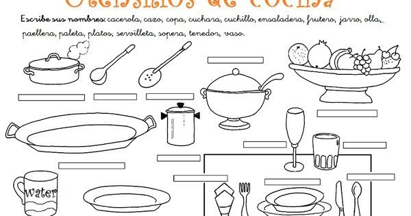 Ejercicios con los utensilios de cocina pesquisa google for Elementos de cocina para chef