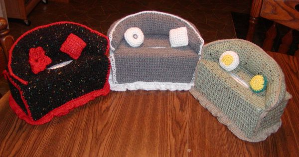 Crocheted Couch Kleenex Box Cover Chosen Treasures Of