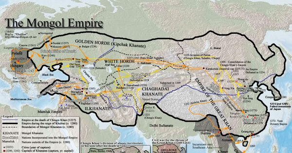 Map of the Mongol empire at its farthest conquests. European states suffered frequent invasions by the Mongols. This added to the variety of forming cultures.