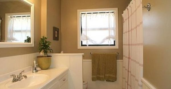 Love this bathroom redo painted wood including the for Behr neutral beige paint colors