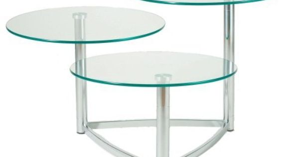 Adesso Cascade 3 Tier Swivel Table Steel By Adesso 213 16 Tempered Glass And Chrome P Contemporary Accent Tables Round Coffee Table Living Room Glass Table