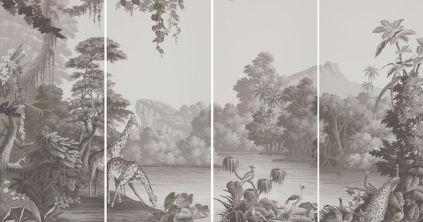 De gournay nos collections dessin personnalis es et for Etched arcadia mural wallpaper