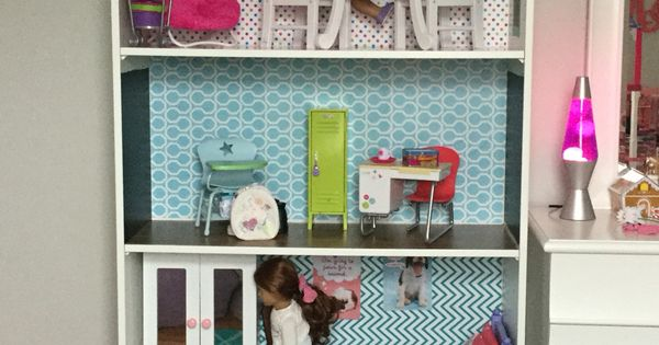 American girl dollhouse made from IKEA Pax closet system