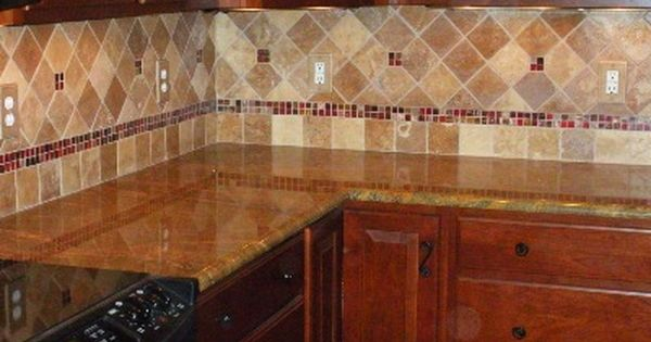 X  Tumbled Travertine Tile Kitchen Backsplash