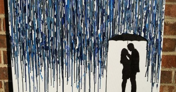 Sweet silhouette under an umbrella -- Melted Crayon Art (from LightandSpoon on