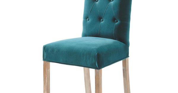 Chaise capitonn e en velours et bois bleu canard elegant - Chaise blanche capitonnee ...