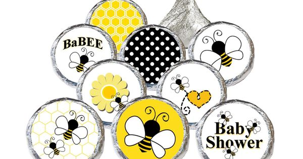 Bumble Bee Baby Shower Stickers (Set of 324) | Bumble bees ...