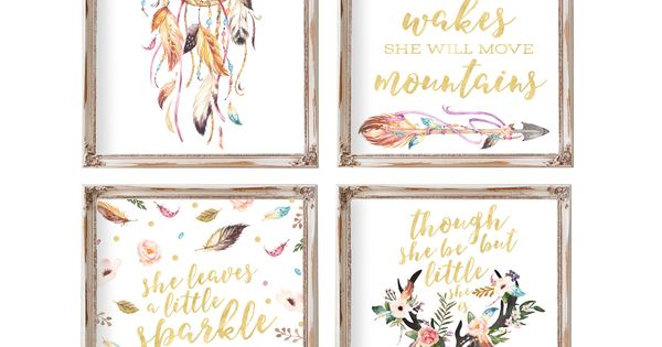 Curtains In The Nursery For Girls Nursery Decor Set Of 4 Baby Gift Boho Nursery Printable Art Girl