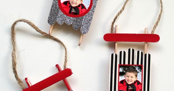 Popsicle stick sled ornament with photos perfect craft for Popsicle stick picture frame christmas