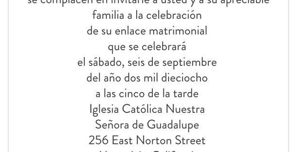 Wedding Invitation In Spanish Wording: Wording Sample For Wedding Invitation