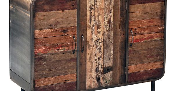 Aparador em ferro e madeira reciclada objetos - Mobiliario industrial vintage ...