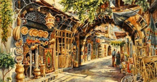 هشام الخياط يرسم وجدانه الدمشقي بالألوان المائية Arabian Art Damascus Syria Damascus