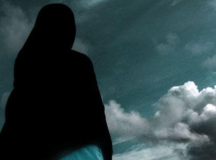 gambar siluet wanita berhijab dari belakang  moa gambar