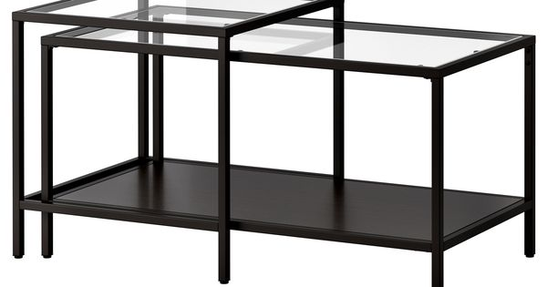 vittsj satsbord set om 2 svartbrun glas ikea guld och f rg. Black Bedroom Furniture Sets. Home Design Ideas