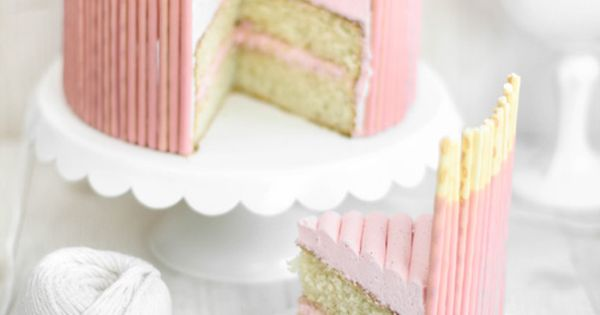 Sprinkle Bakes: Pink Vanilla Pocky Cake. **Classic Birthday Cake recipe dessert
