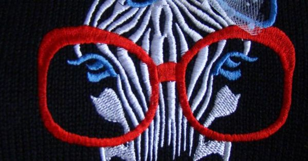 Zebra with glasses free embroidery design machine