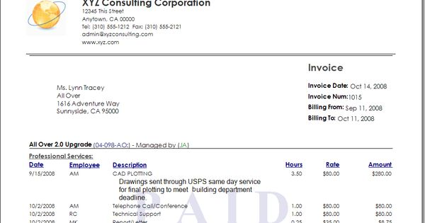 tip 1 time and expense memos on invoices Office Pinterest - invoice for consulting