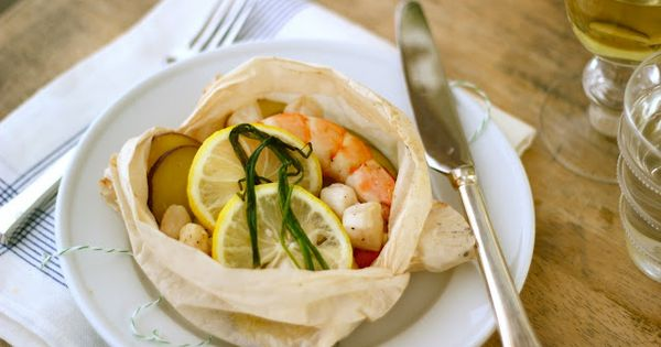 Shrimp Scallop Parchment Packets with Lemon, Chive & Potatoes by jennysteffens: Light