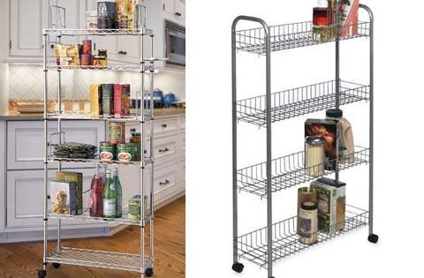 Small Space Solution Narrow Rolling Pantry Shelves