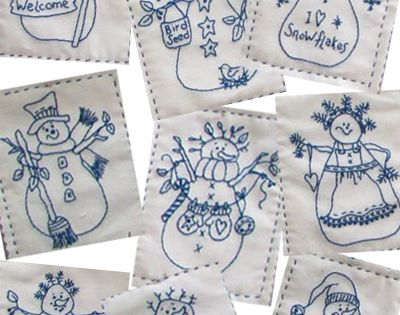 Line Art Quilt Pattern Holly Hickman : Snowmen by the dozen hand or machine embroidery pattern