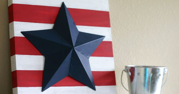 Stripes with big star... Cute idea for 4th of July Decorations