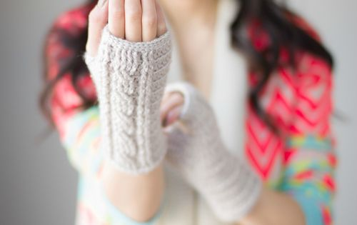 Cabled fingerless gloves @ All About Ami. I love everything she makes!!