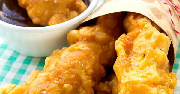 Homemade Chicken Tenders: Super crunchy outside and moist, tender chicken inside, serve