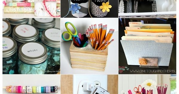 Organize Your Work Space with One Trip to the Dollar Store - Mad in Crafts This web site goes on and on... craft room, kitchen, bathroom... such great ideas!