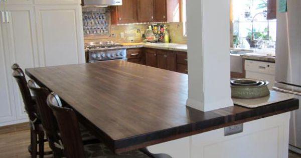 Column integrated into walnut butcher block island lumber for Countertop liquidators