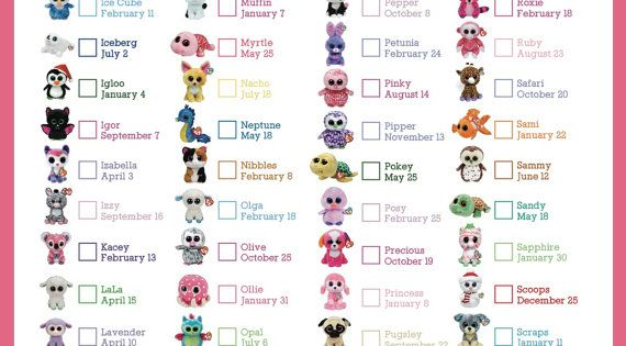 Hilaire image for beanie baby checklist printable