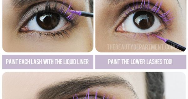 Color your natural lashes or FalseLashes with liquid eyeliner. Try this DIY