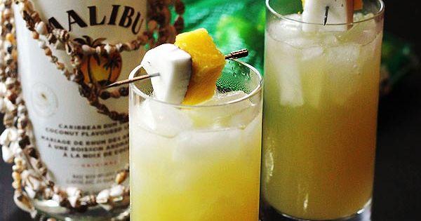 Coconut Pineapple Rum Drink. 1½ oz white rum ½ oz Malibu 1