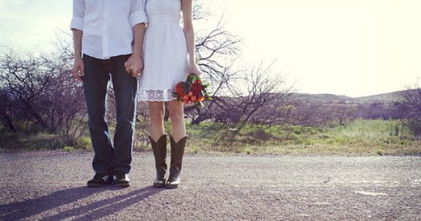 Short lace wedding dresses with cowgirl boots couple for Short wedding dress with cowboy boots