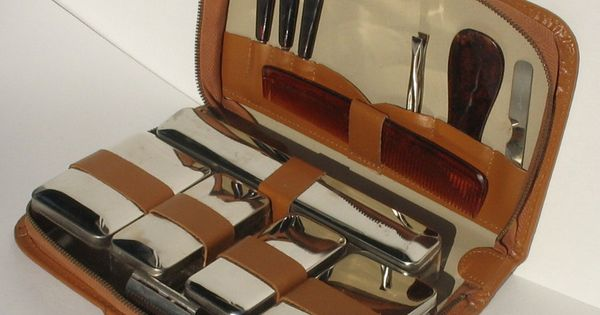 vintage men 39 s travel grooming shaving kit shaving. Black Bedroom Furniture Sets. Home Design Ideas