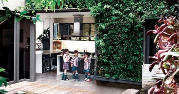 Exterior Vertical Garden Wall Children Play Courtyard Also With Wood Bars Floor