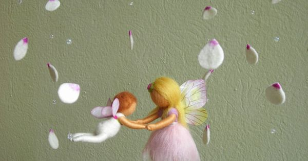 """Mobile """"A ballet scene with two fairies"""" - Waldorf inspired, needle felted,"""