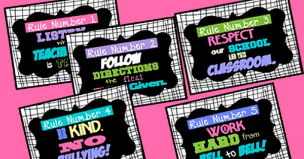 Modern Classroom Posters ~ Cool contemporary subway art style class rules posters