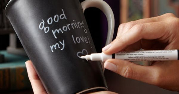 Make your own Chalkboard Mugs -cute idea for good morning messages :)