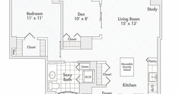 One Bedroom Floor Plan Of Property Randolph Tower City Apartments Randolph Tower City