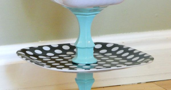 Polka Dot Fruit Stand made from cheap candle sticks and melamine dishes.