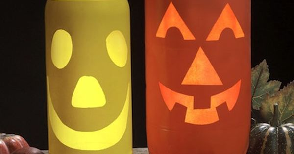 EASY HALLOWEEN LANTERNS Start saving those 2 liter bottles now. Cut a