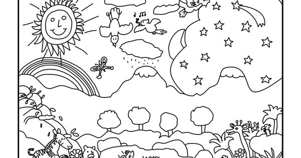 Creation Coloring Pages For Kindergarten : Creation coloring pages for preschoolers